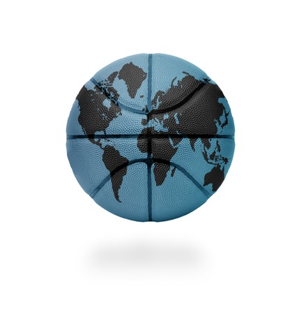 Basketball ball with the world map on white background photo