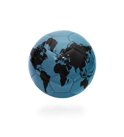 Football ball with the world map on white background photo
