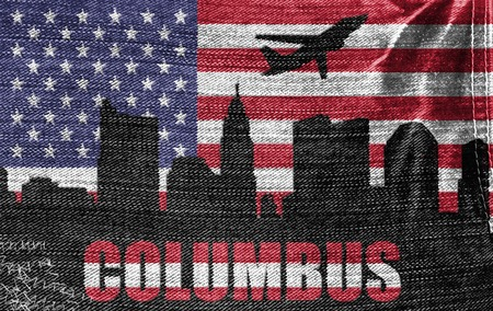 View of Columbus City on the American flag on the jeans texture photo