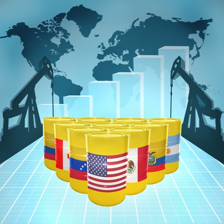 fuel provider: Oil barrels with the flags of American countries on the world map with oil derricks and growth chart