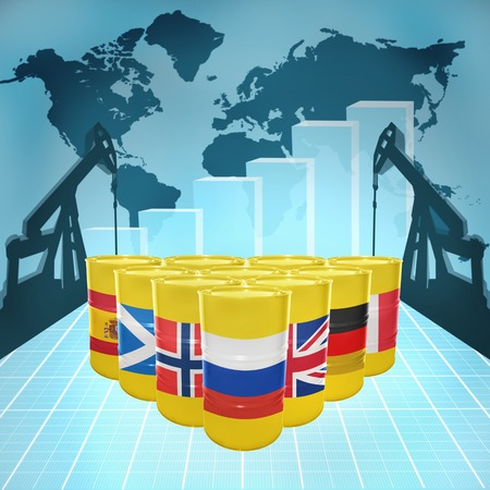Oil barrels with the flags of European countries on the world map with oil derricks and growth chart photo