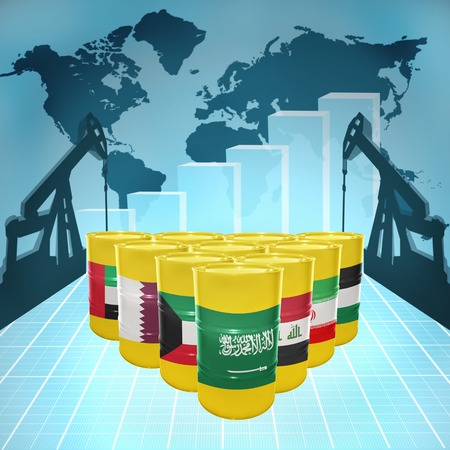 fuel provider: Oil barrels with the flags of Middle East countries on the world map with oil derricks and growth chart