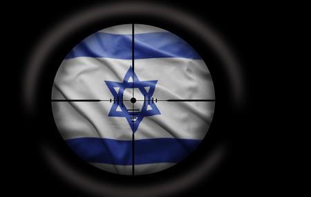 Sniper scope aimed at the Israeli flag photo