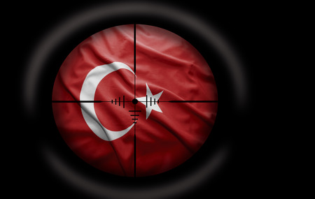 Sniper scope aimed at the Turkish flag