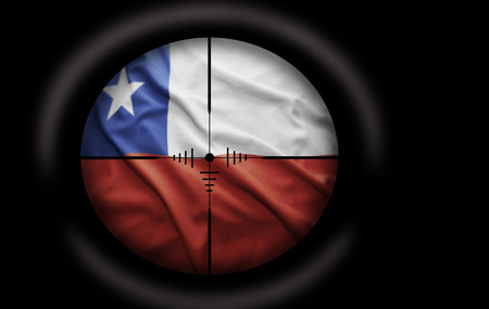 chilean flag: Sniper scope aimed at the Chilean flag