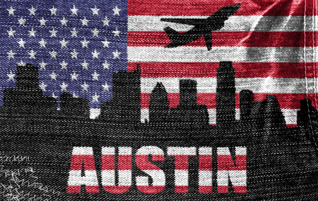 View of Austin City on the American flag on the jeans texture photo