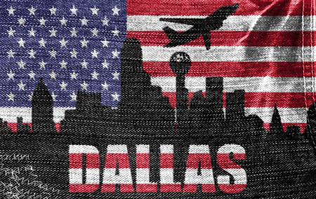 View of Dallas City on the American flag on the jeans texture photo