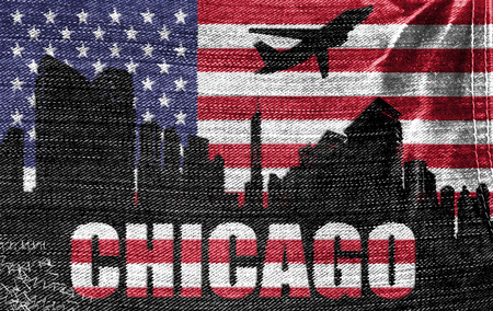 View of Chicago City on the American flag on the jeans texture photo