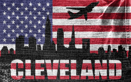 View of Cleveland City on the American flag on the jeans texture photo