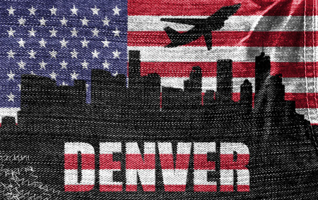 View of Denver City on the American flag on the jeans texture photo