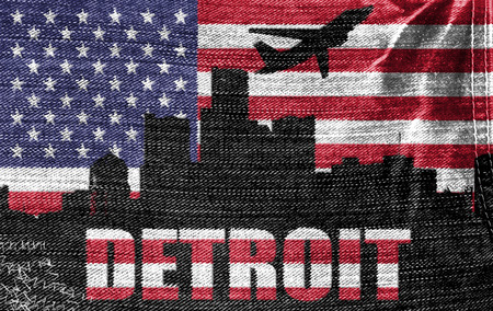 View of Detroit City on the American flag on the jeans texture photo