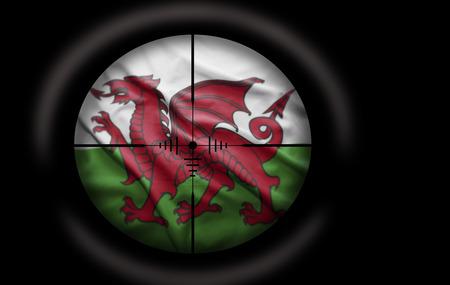 welsh flag: Sniper scope aimed at the Welsh flag