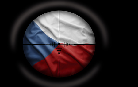 Sniper scope aimed at the Czech flag photo