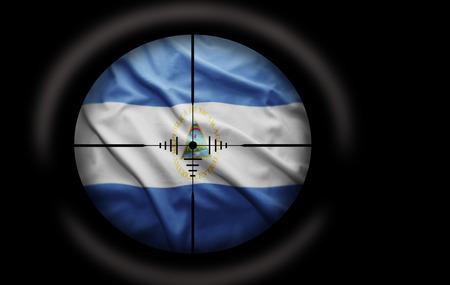 nicaraguan: Sniper scope aimed at the Nicaraguan flag Stock Photo