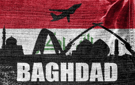 iraqi: View of Baghdad on the Iraqi flag on the jeans texture