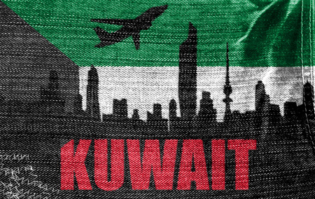 View of Kuwait on the Kuwait flag on the jeans texture photo