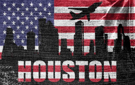 View of Houston City on the American flag on the jeans texture photo