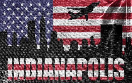 View of Indianapolis City on the American flag on the jeans texture photo