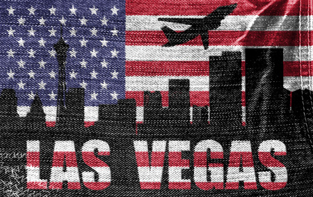 View of Las Vegas City on the American flag on the jeans texture photo