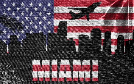 View of Miami City on the American flag on the jeans texture photo