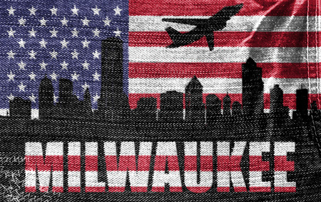 View of Milwaukee City on the American flag on the jeans texture photo