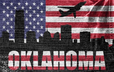 View of Oklahoma City on the American flag on the jeans texture photo
