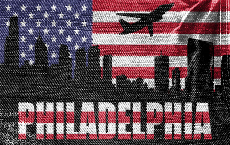 View of Philadelphia City on the American flag on the jeans texture photo