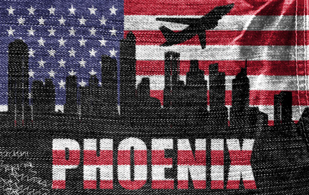 phoenix arizona: View of Phoenix City on the American flag on the jeans texture