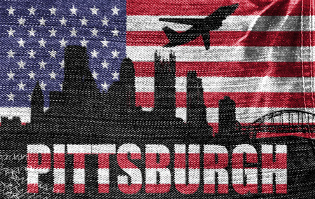 View of Pittsburgh City on the American flag on the jeans texture photo
