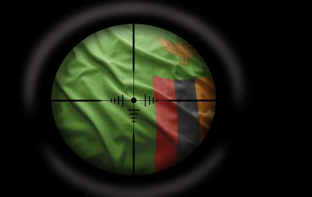 zambian: Sniper scope aimed at the Zambian flag
