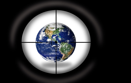 Sniper scope aimed at the Planet Earth.  photo