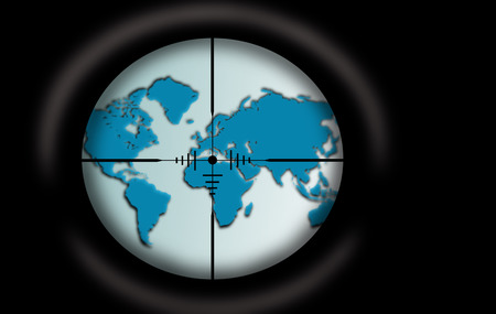 Sniper scope aimed at the world map photo