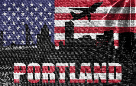 View of Portland City on the American flag on the jeans texture photo