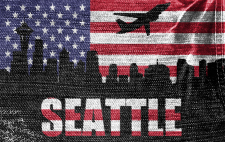 View of Seattle City on the American flag on the jeans texture photo