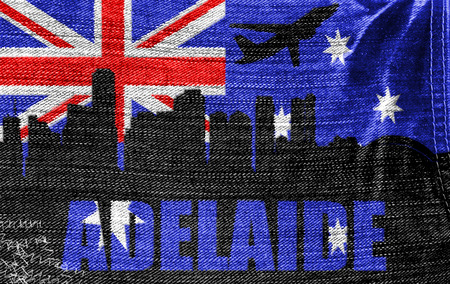 View of Adelaide on the Australian flag on the jeans texture photo