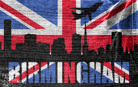 View of Birmingham on the British flag on the jeans texture photo