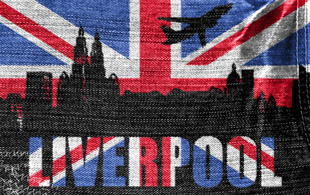 View of Liverpool on the British flag on the jeans texture photo