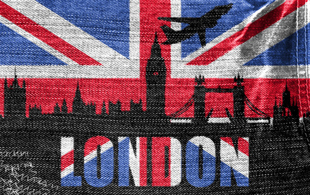 View of London on the British flag on the jeans texture photo