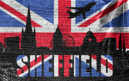 sheffield: View of Sheffield on the British flag on the jeans texture Stock Photo