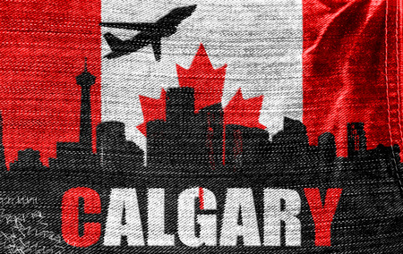 View of Calgary on the Canadian flag on the jeans texture photo