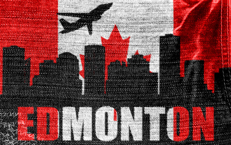 View of Edmonton on the Canadian flag on the jeans texture