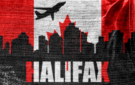 View of Halifax on the Canadian flag on the jeans texture photo
