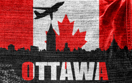 View of Ottawa on the Canadian flag on the jeans texture photo