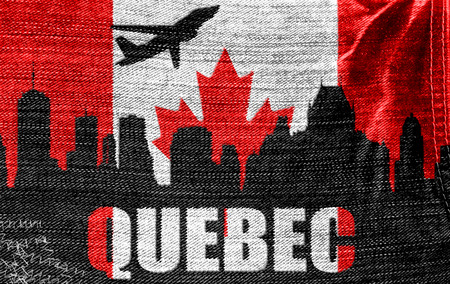 View of Quebec on the Canadian flag on the jeans texture photo