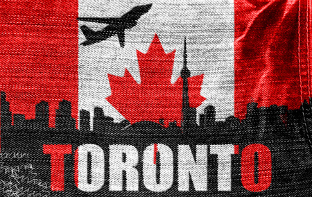 View of Toronto on the Canadian flag on the jeans texture photo