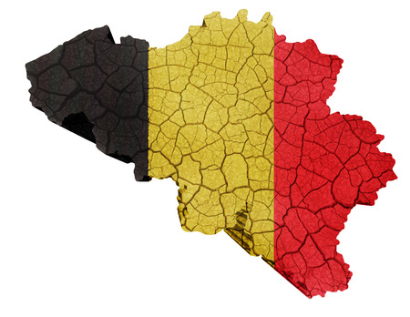 Map of Belgium on cracked texture isolated on white photo