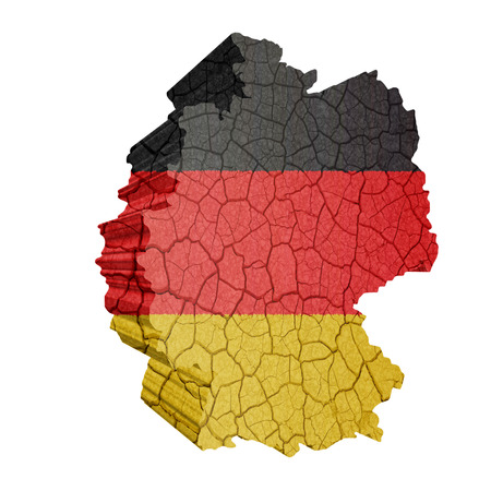 Map of Germany on cracked texture isolated on white