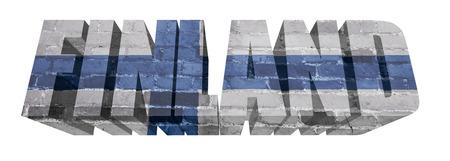 Nationalflagge von Finnland auf dem Wort von einem Ziegelstein getrennt auf Weiß