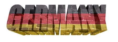 National Flag of Germany on the word of a brick texture isolated on white photo
