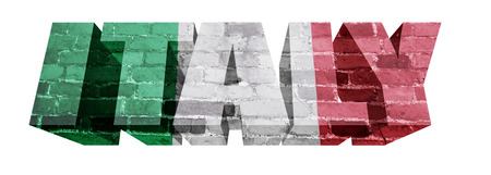National Flag of Italy on the word of a brick texture isolated on white photo